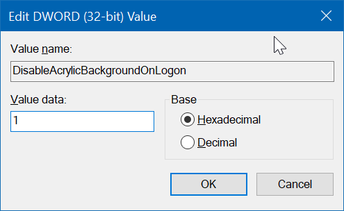 turn off blur effect on the sign in screen in Windows 10 pic5