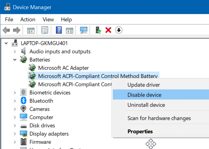 Battery icon greyed out in Windows 10 settings (2)