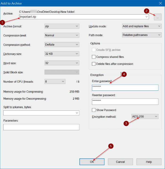 create password protected zip file using 7zip pic2
