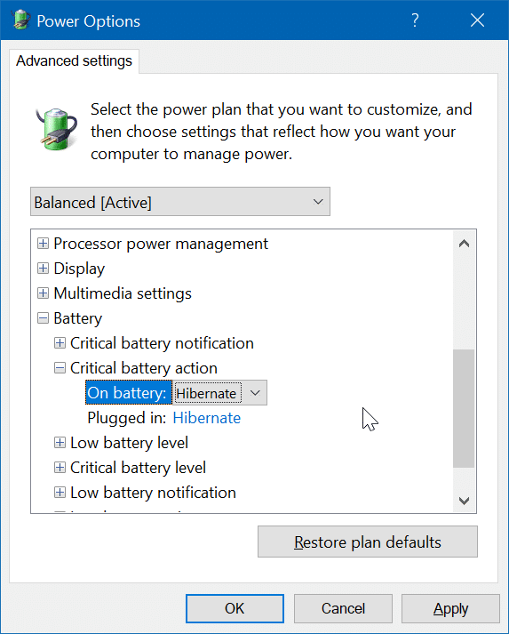hibernate Windows 10 when battery is low pic4