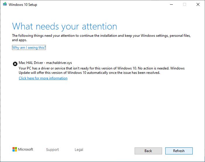 mac hal driver error Windows 10