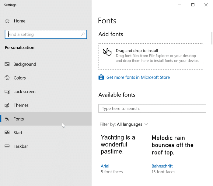 preview, install and uninstall fonts in Windows 10 pic1