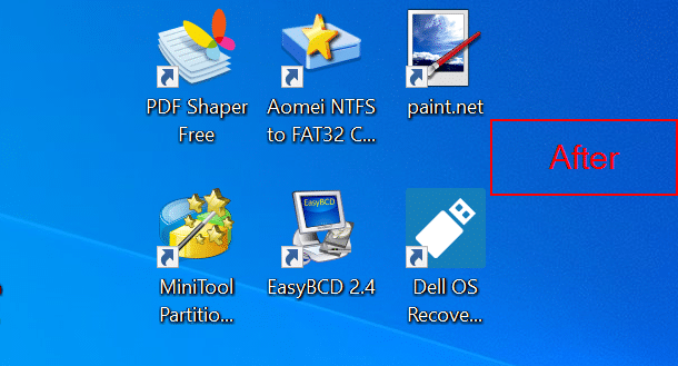 remove yellow and blue shield from program shorcuts on the desktop in Windows 10 pic01