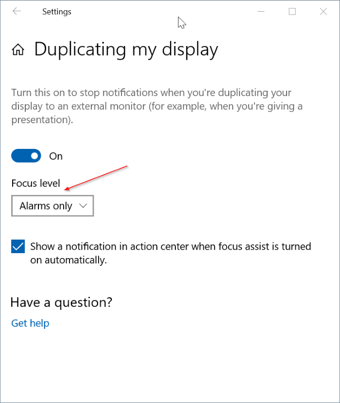 turn off notifications while gaming, videos and presentation in Windows 10 pic1