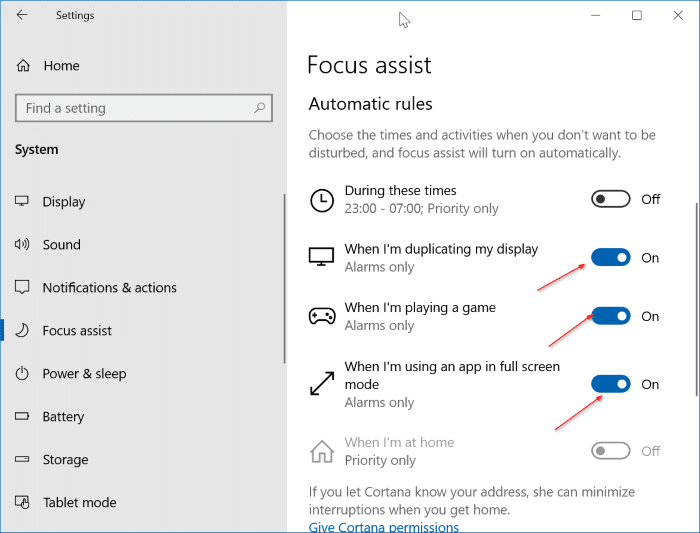 turn off notifications while gaming, videos and presentation in Windows 10