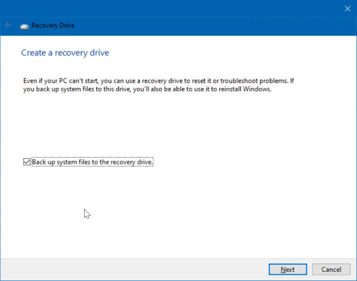 we can't create the recovery drive error