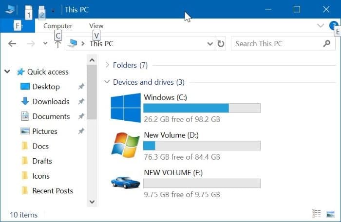change file explorer drive icons in Windows 10