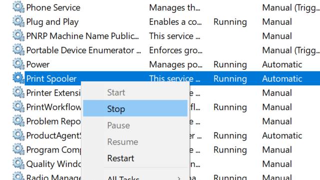 delete print queue documents in Windows 10 pic2
