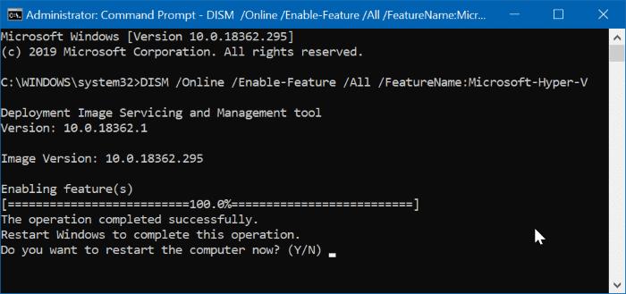 enable hyper-v in Windows 10 pic6