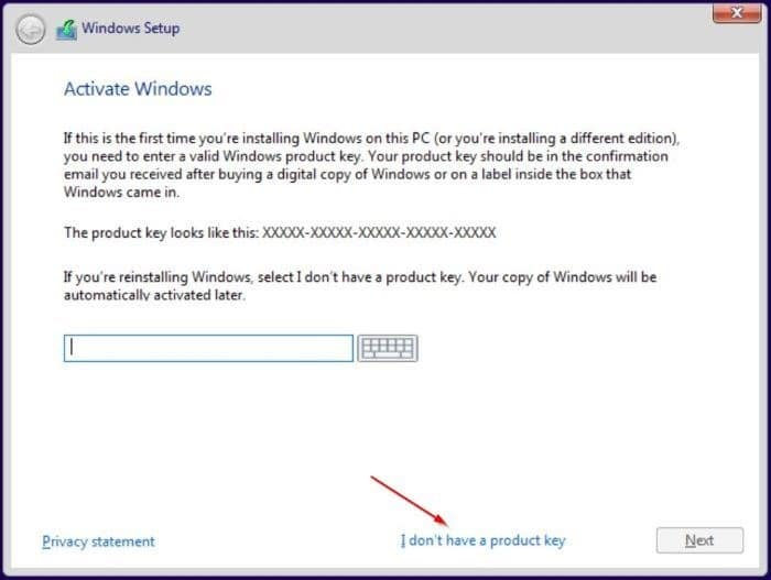 install windows 10 without entering a product key