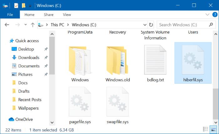 move hibernation hiberfil sys file in Windows 10