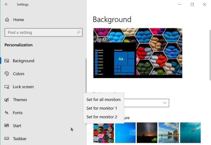 set a different wallpaper on the second screen in Windows 10