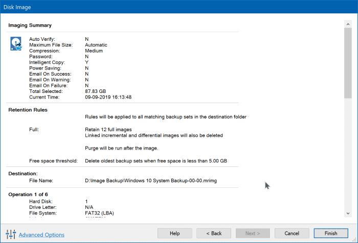 Create Windows 10 system image backup using Macrium Reflect Free pic6