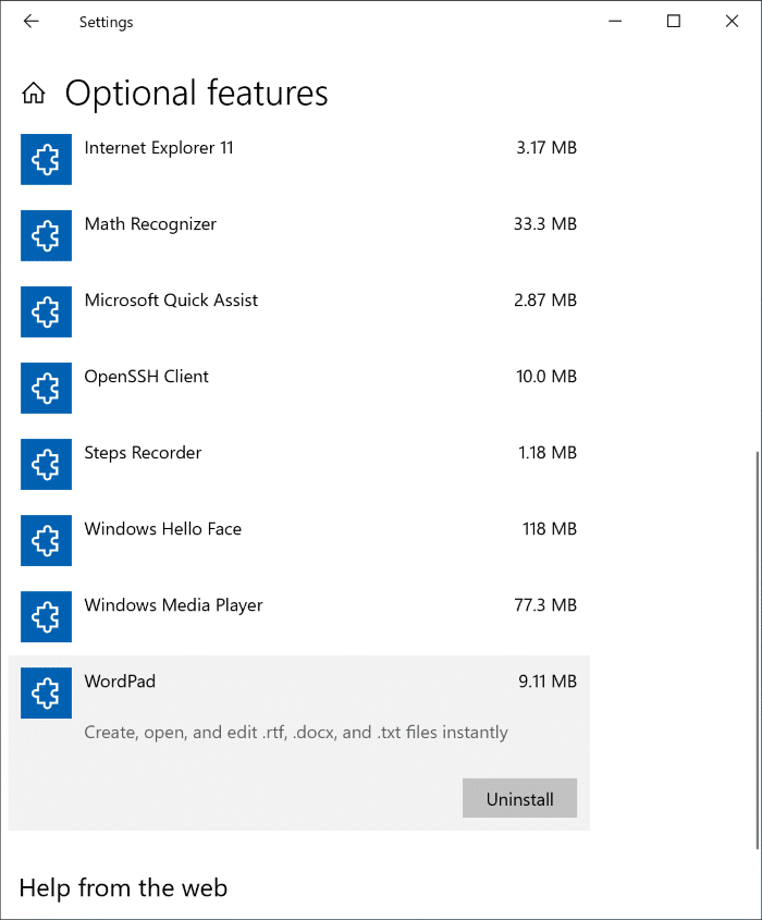 Install or Uninstall WordPad in Windows 10 pic1