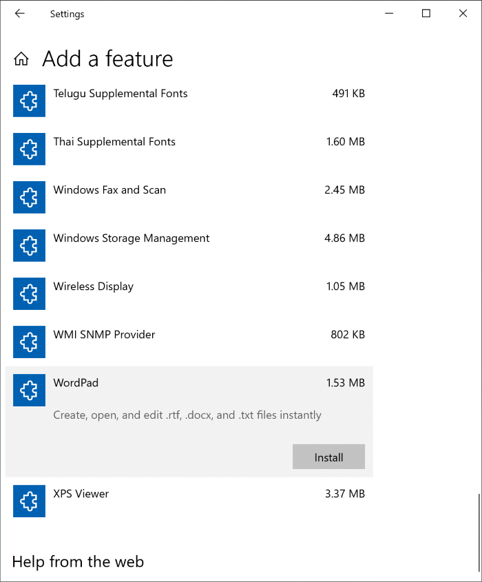 Install or Uninstall WordPad in Windows 10 pic3