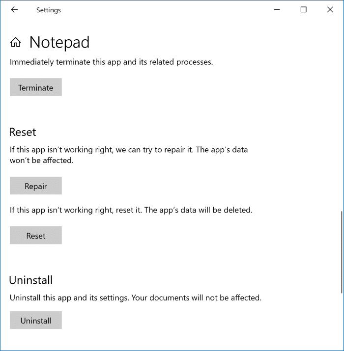 Repair or Uninstall Notepad in Windows 10 pic2