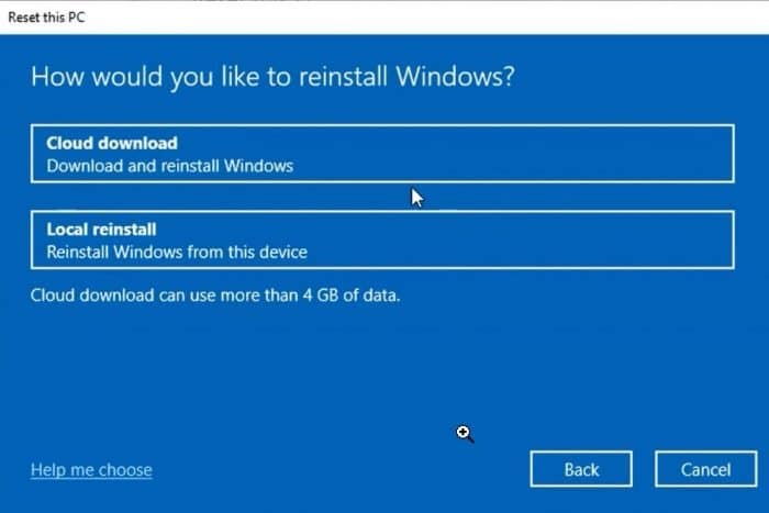 reset Windows 10 using cloud download option