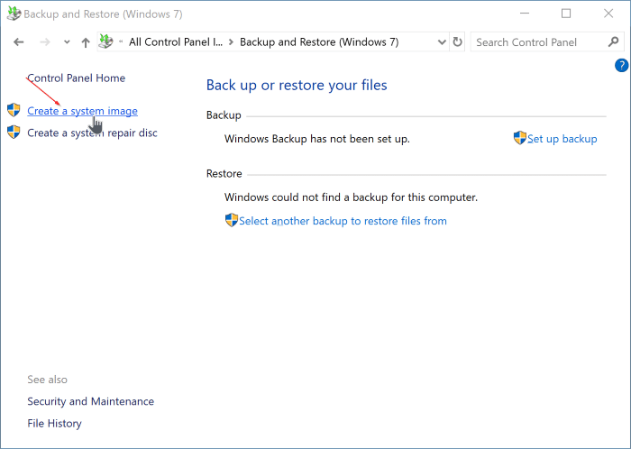 create system image backup in Windows 10 pic2