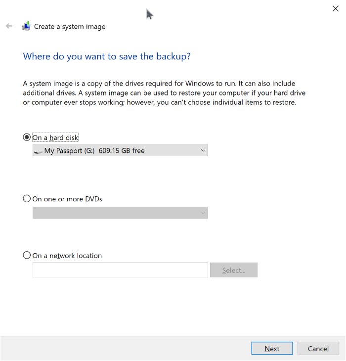 create system image backup in Windows 10 pic3