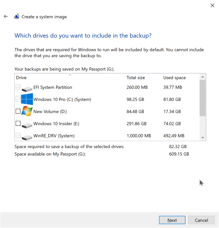 create system image backup in Windows 10 pic4