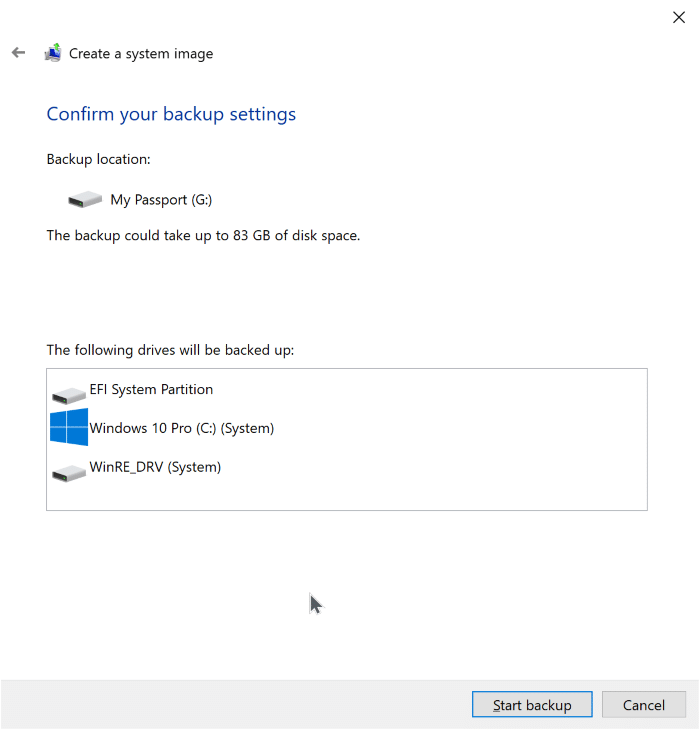 create system image backup in Windows 10 pic5