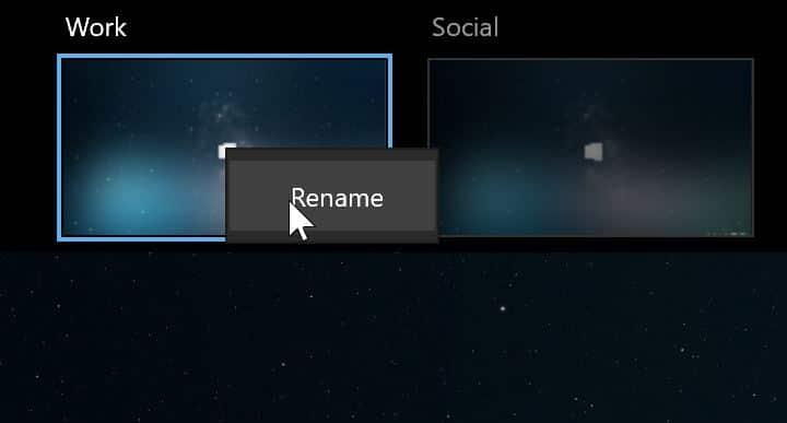 rename virtual desktops in Windows 10