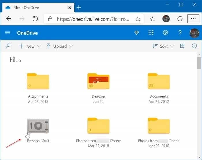 OneDrive Personal vault pic1