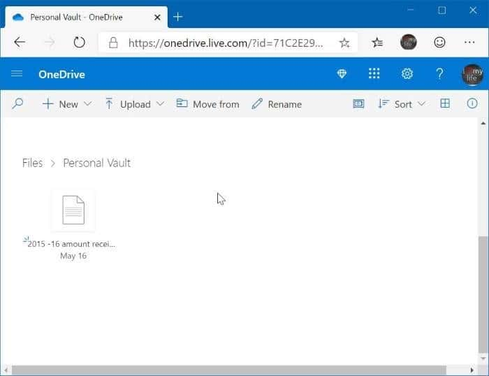 OneDrive Personal vault pic2