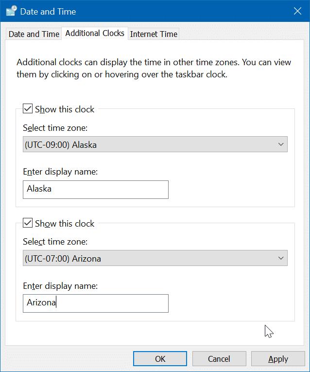 add additional clocks to Windows 10 pic3