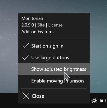 change external monitor brightness Windows 10 pic1