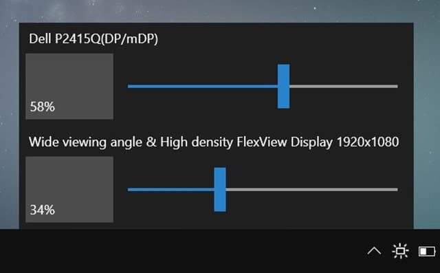 change external monitor brightness in Windows 10
