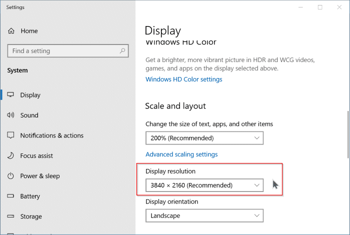 change external monitor screen resolution in Windows 10 pic3