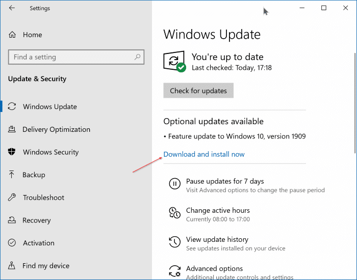 Upgrade to Windows 10 version 1909 pic1