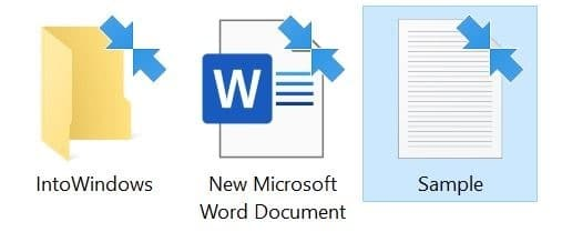 blue arrows on files and folders in Windows 10