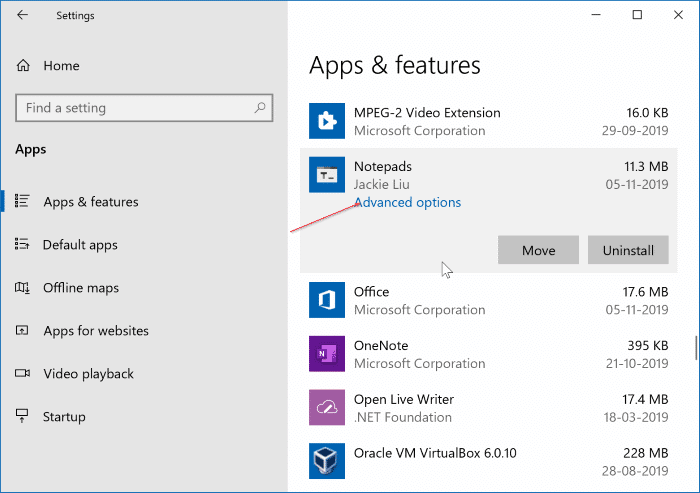 check version number of apps and programs in Windows 10 pic2