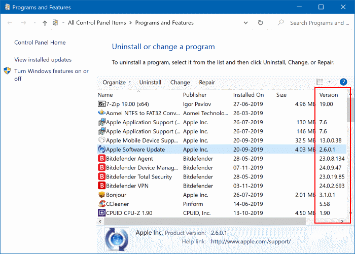 check version number of apps and programs in Windows 10 pic4