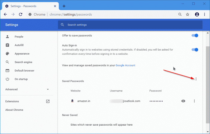 export google chrome passwords in Windows 10 pic3