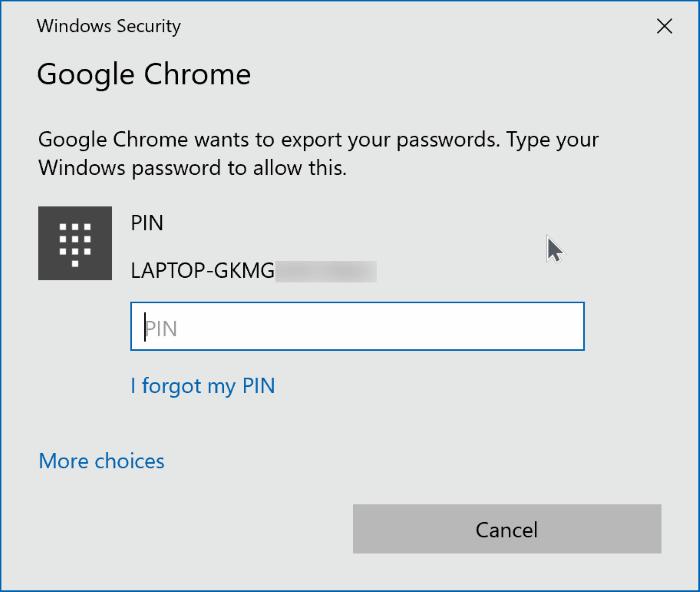 export google chrome passwords in Windows 10 pic6