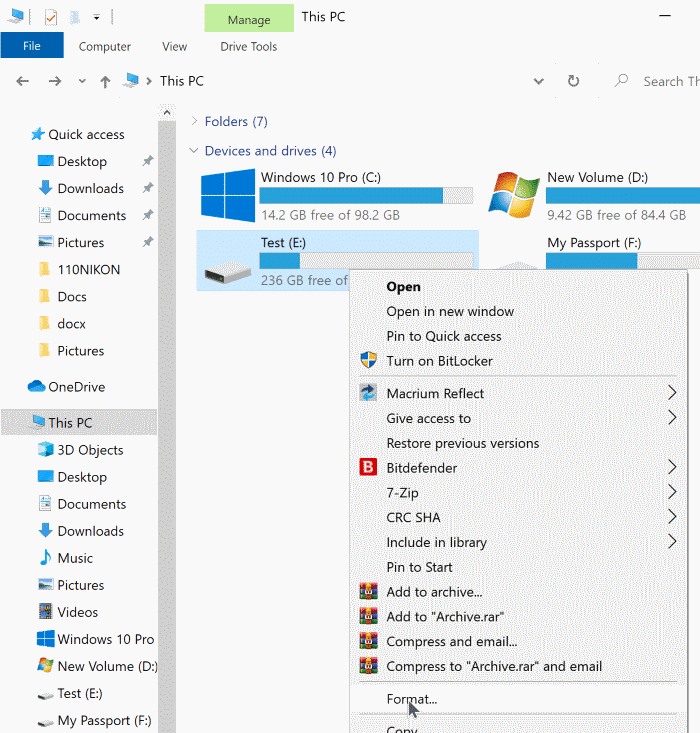 format drives in Windows 10 pic1