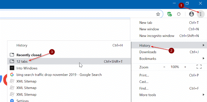 manually restore Google Chrome browsing session in Windows 10 pic1