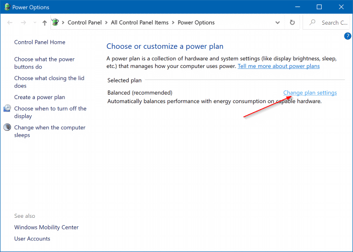 change laptop lid open action in Windows 10 pic2