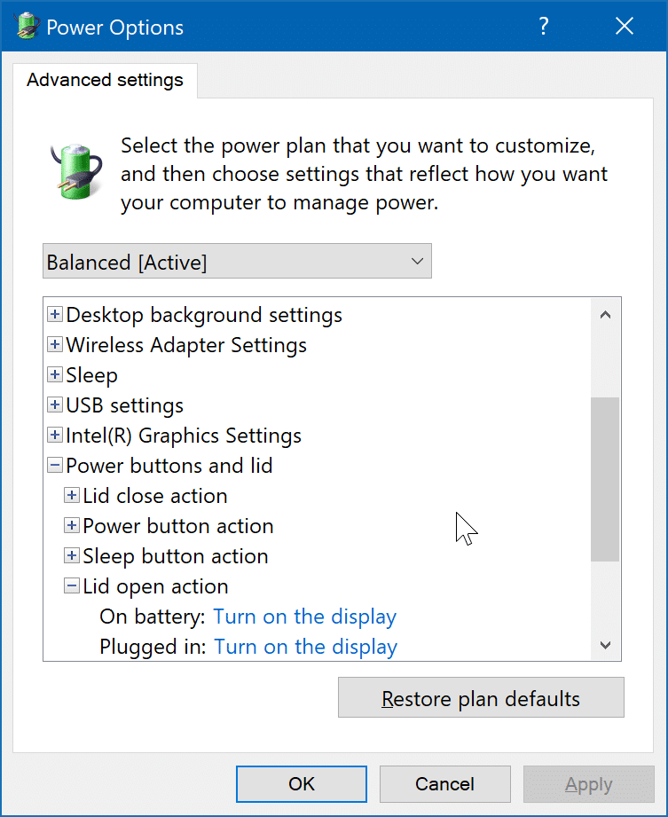 change laptop lid open action in Windows 10 pic4
