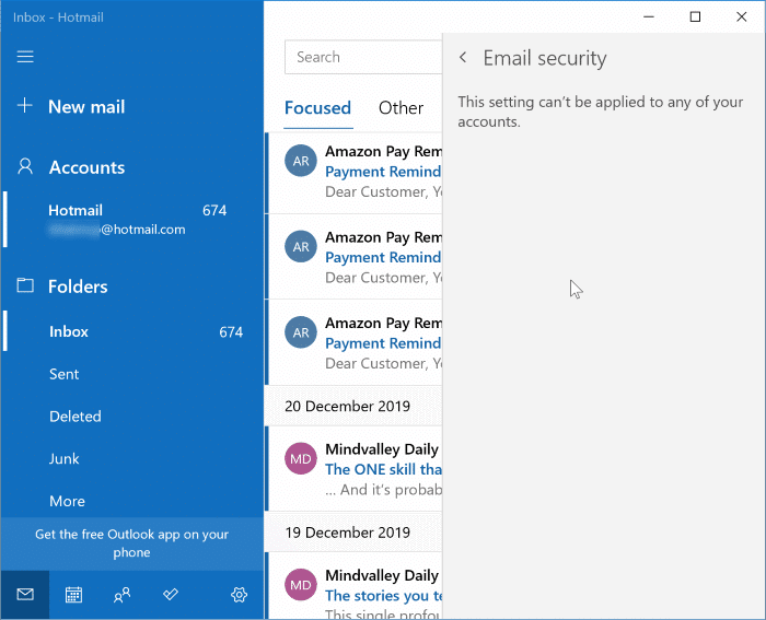 email security in Windows 10 mail app pic2