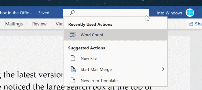 enable or disable search box in Office 365 pic001