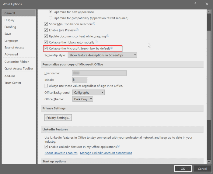 enable or disable search box in Office 365 pic3