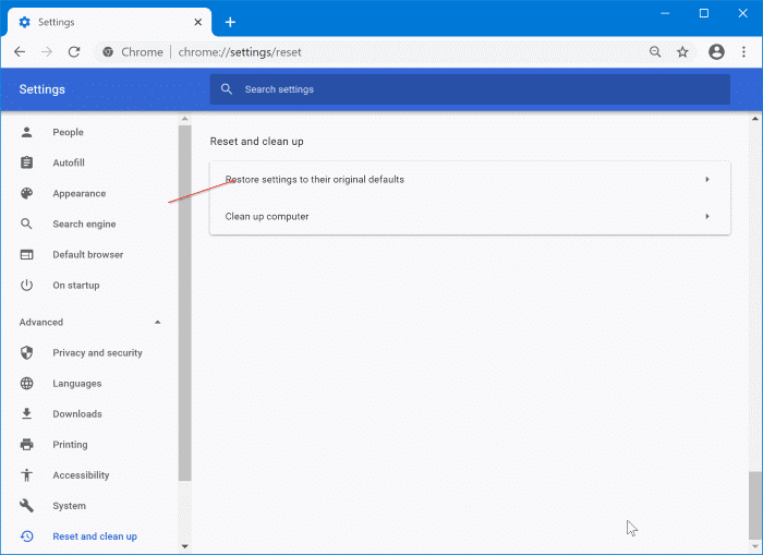 reset google chrome to default settings in Windows 10 pic2