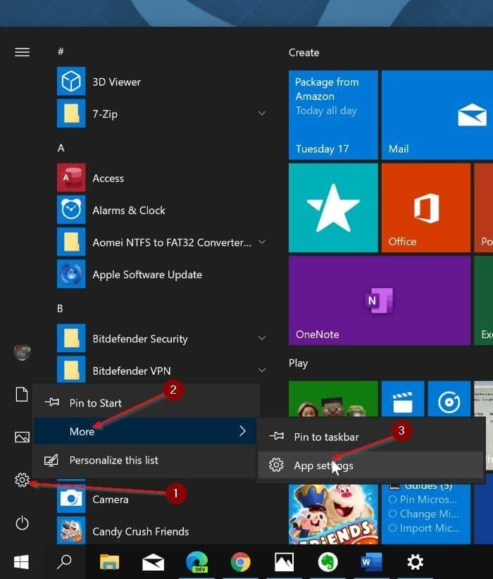 reset the settings app in Windows 10 pic2