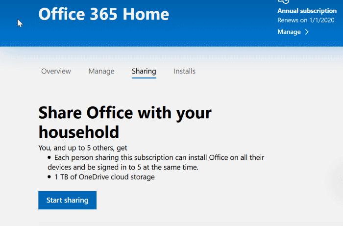share office 365 home subscription with others pic1