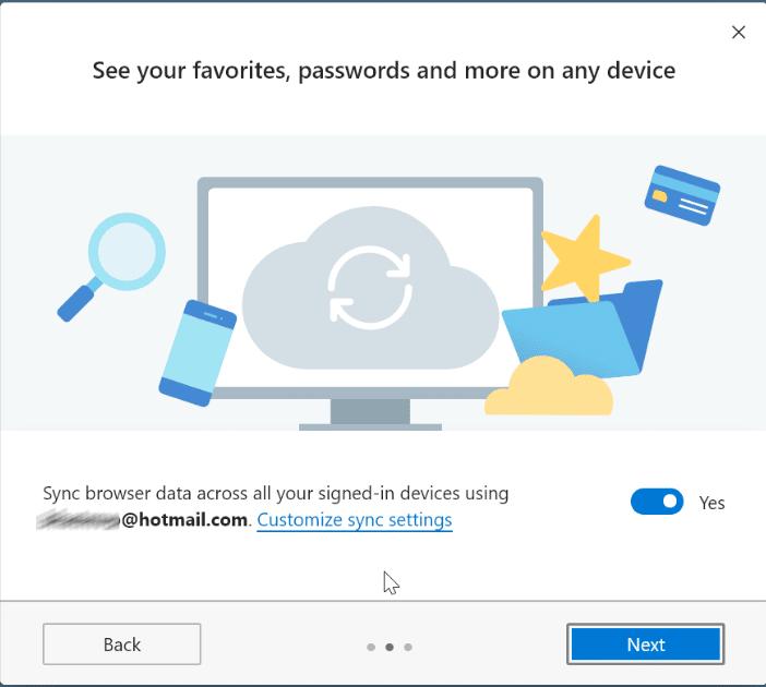 Turn on or off data sync in Microsoft Edge (2)