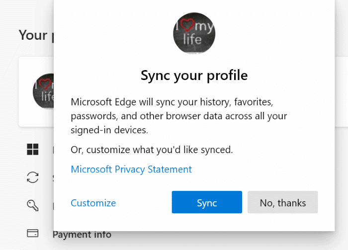 Turn on or off data sync in Microsoft Edge (5)
